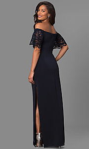 Image of off-the-shoulder long formal dress with lace sleeves. Style: JU-MA-263509 Back Image