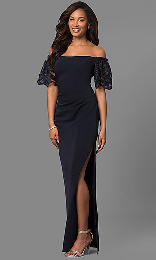 Off-the-Shoulder Long Formal Dress with Lace Sleeves