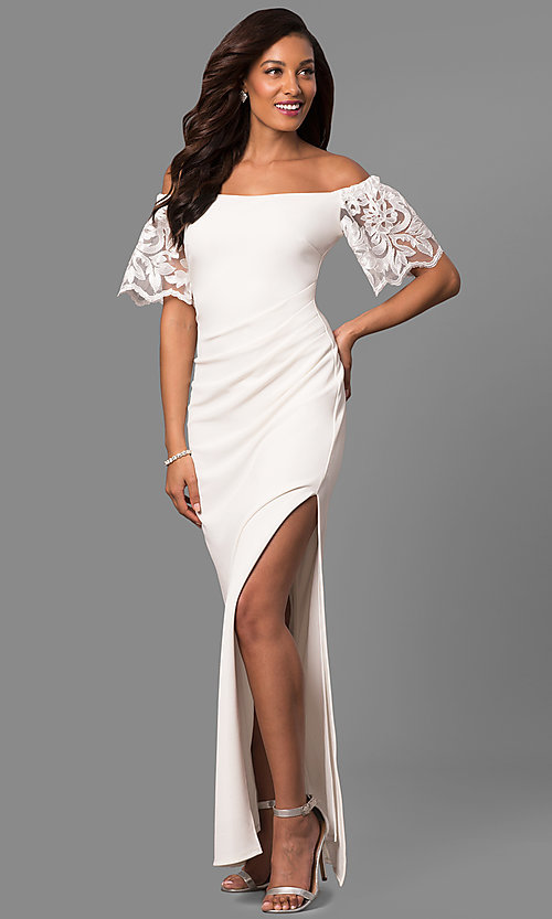 Image of off-the-shoulder long formal dress with lace sleeves. Style: JU-MA-263509 Detail Image 2