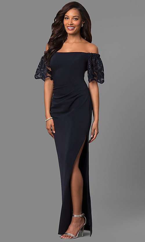 Image of off-the-shoulder long formal dress with lace sleeves. Style: JU-MA-263509 Front Image
