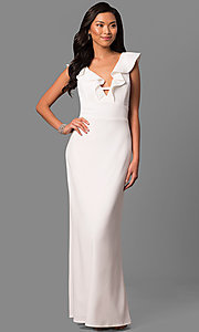 Image of long white formal dress with ruffled v-neckline. Style: JU-MA-263543 Front Image