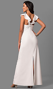 Image of long white formal dress with ruffled v-neckline. Style: JU-MA-263543 Back Image