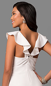 Image of long white formal dress with ruffled v-neckline. Style: JU-MA-263543 Detail Image 2