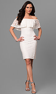 Image of off-the-shoulder short ivory lace graduation dress. Style: JU-MA-263499 Detail Image 1