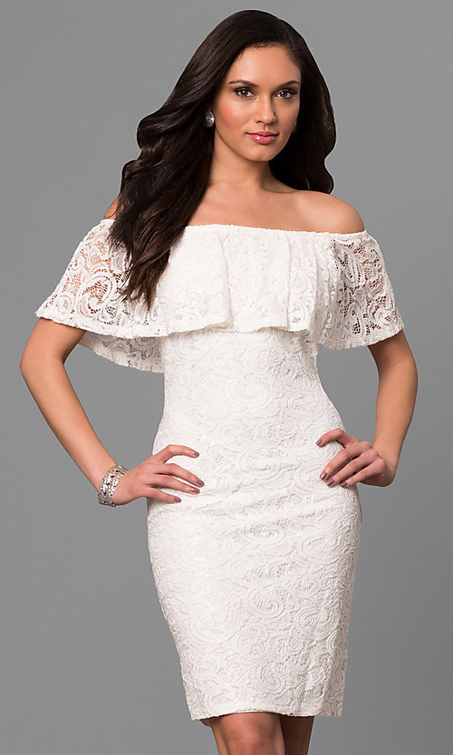 Image of off-the-shoulder short ivory lace graduation dress. Style: JU-MA-263499 Front Image