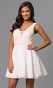 Image of lace-bodice a-line short white v-neck party dress. Style: DMO-J316857 Front Image