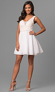 Image of lace-bodice a-line short white v-neck party dress. Style: DMO-J316857 Detail Image 1