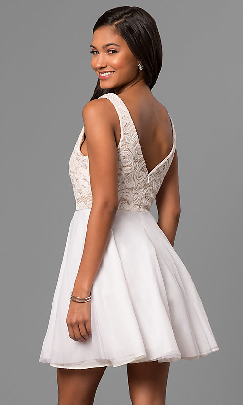 Image of lace-bodice a-line short white v-neck party dress. Style: DMO-J316857 Back Image