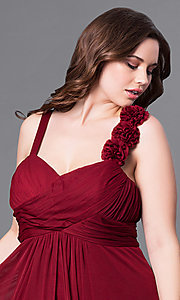 Image of plus-size long prom dress with matching shawl. Style: DQ-8115P Detail Image 1