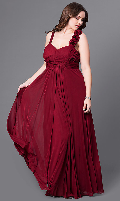 Image of plus-size long prom dress with matching shawl. Style: DQ-8115P Front Image