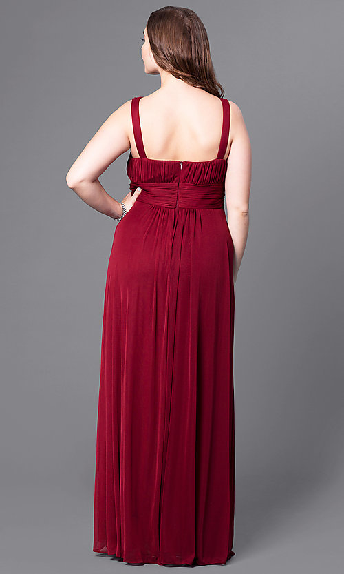 Image of plus-size long prom dress with matching shawl. Style: DQ-8115P Back Image