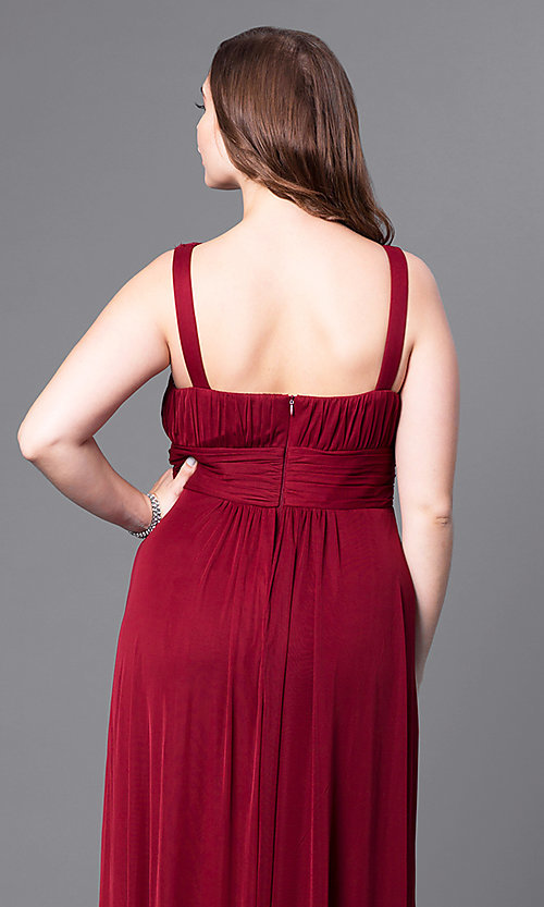 Image of plus-size long prom dress with matching shawl. Style: DQ-8115P Detail Image 2