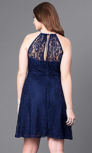 Image of empire-waist plus-size short navy party dress in lace. Style: SI-11464P Back Image
