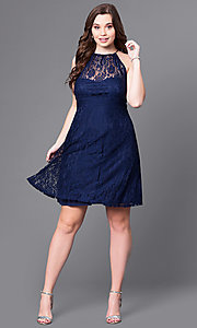 Image of empire-waist plus-size short navy party dress in lace. Style: SI-11464P Detail Image 1