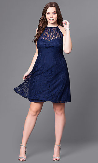 Short Navy Plus-Size Party Dress with Empire Waist