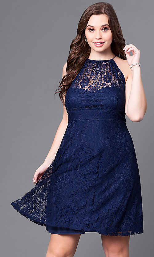 Image of empire-waist plus-size short navy party dress in lace. Style: SI-11464P Front Image