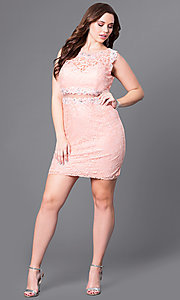 Image of plus-size short lace party dress with sheer waist. Style: DQ-9099P Detail Image 1