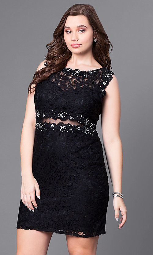 Image of plus-size short lace party dress with sheer waist. Style: DQ-9099P Front Image