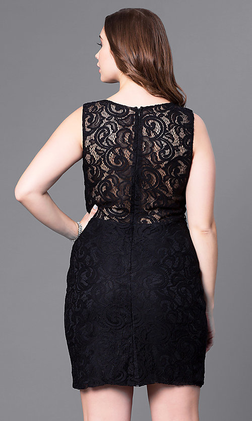 Image of plus-size short lace party dress with sheer waist. Style: DQ-9099P Back Image