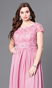 Image of cap-sleeve plus-size long formal dress with lace. Style: FB-GL1398Yp Detail Image 4