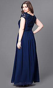 Image of cap-sleeve plus-size long formal dress with lace. Style: FB-GL1398Yp Back Image