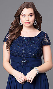 Image of cap-sleeve plus-size long formal dress with lace. Style: FB-GL1398Yp Detail Image 1