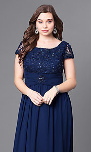 Image of cap-sleeve plus-size long formal dress with lace. Style: FB-GL1398Yp Detail Image 2