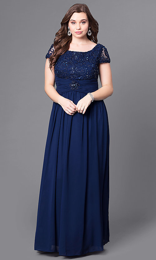 Lace-Bodice Cap-Sleeve Plus-Size Long Formal Dress