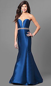 Image of strapless sweetheart long formal satin gown. Style: AND-5273 Front Image