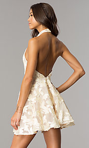 Image of short a-line party dress with high-neck halter. Style: LUX-LD3416 Back Image