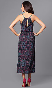 Image of deep-v-neck print high-low party dress with pockets. Style: BC-ELJ69E63 Back Image