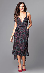 Image of deep-v-neck print high-low party dress with pockets. Style: BC-ELJ69E63 Front Image