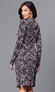 Image of floral-print short party dress with long sleeves. Style: BC-DUA64K84 Back Image