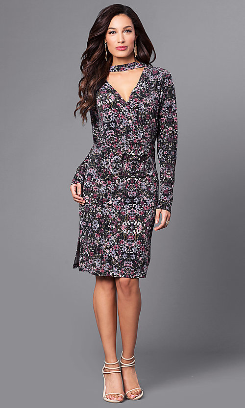 Image of floral-print short party dress with long sleeves. Style: BC-DUA64K84 Detail Image 1