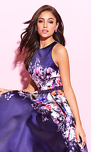 Image of floral-print long formal prom dress with cut outs. Style: NM-17-299 Detail Image 1
