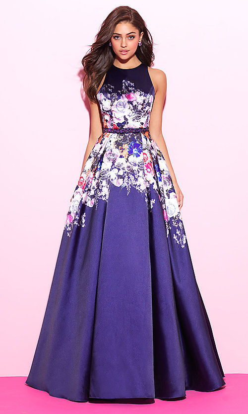 Image of floral-print long formal prom dress with cut outs. Style: NM-17-299 Front Image