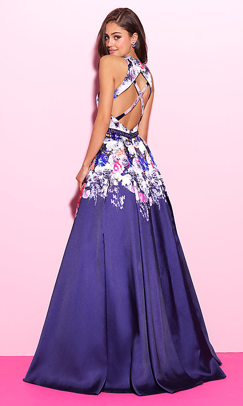 Image of floral-print long formal prom dress with cut outs. Style: NM-17-299 Back Image