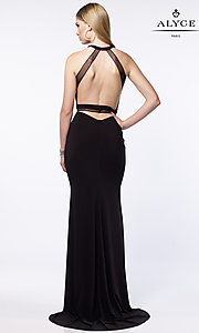 Image of open-back long prom dress with illusion details. Style: AL-8015 Back Image