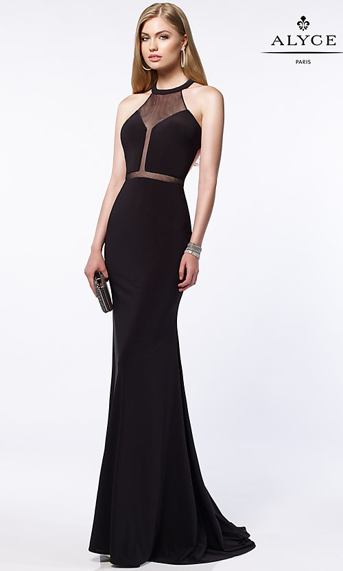 Image of open-back long prom dress with illusion details. Style: AL-8015 Front Image