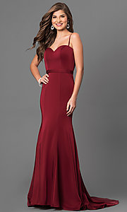 Image of Dave and Johnny long formal sweetheart prom dress. Style: DJ-A5223 Front Image