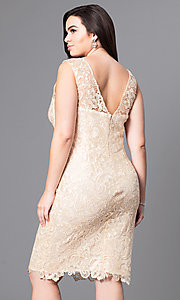 Image of knee-length lace plus-size cocktail party dress. Style: DQ-8842P Back Image