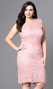 Image of knee-length lace plus-size cocktail party dress. Style: DQ-8842P Detail Image 2