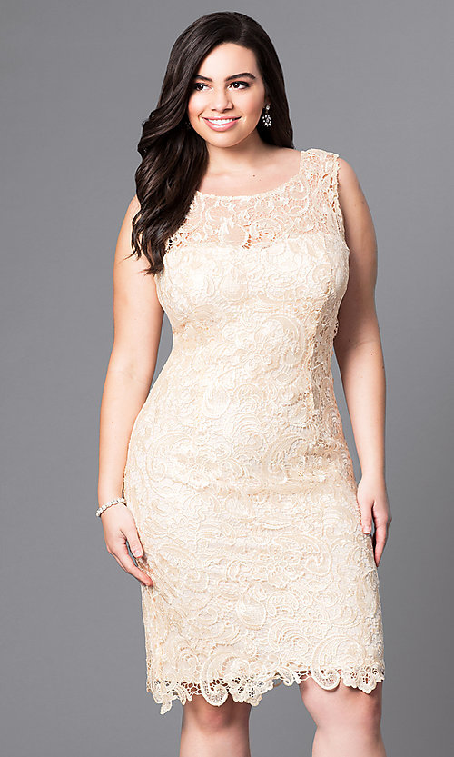 Image of knee-length lace plus-size cocktail party dress. Style: DQ-8842P Front Image