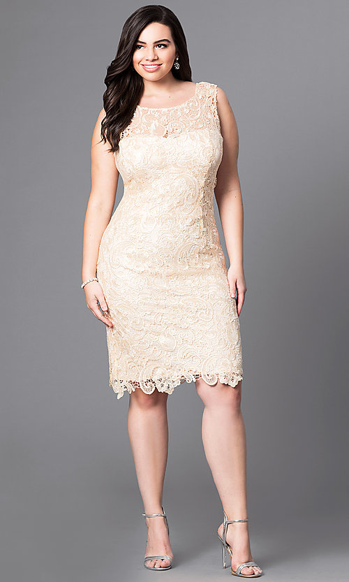 Image of knee-length lace plus-size cocktail party dress. Style: DQ-8842P Detail Image 1