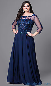 Image of long plus-size prom dress with beaded lace and sleeves. Style: DQ-9473P Front Image
