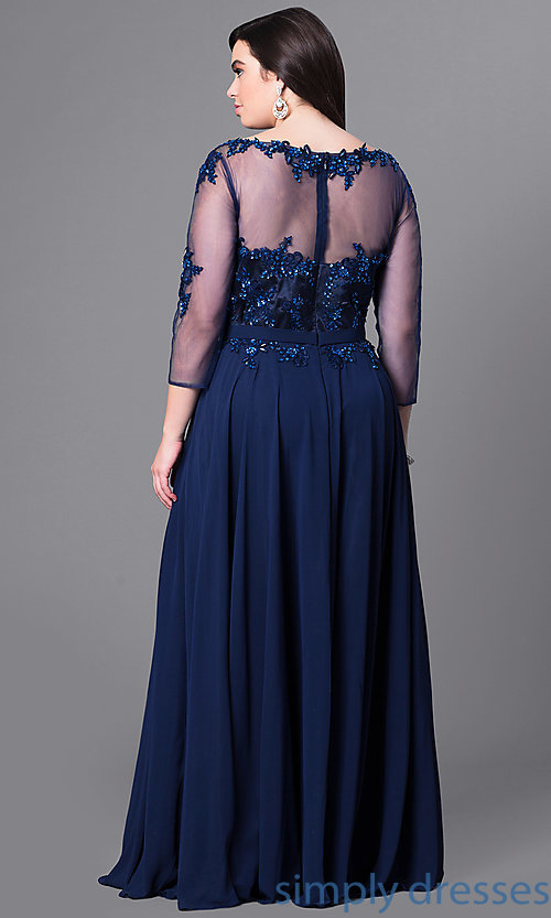 Image of long plus-size prom dress with beaded lace and sleeves. Style: DQ-9473P Back Image