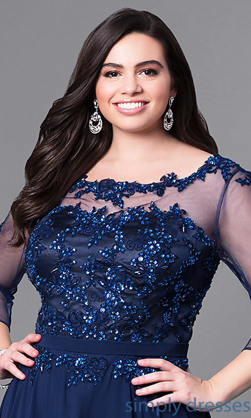 Image of long plus-size prom dress with beaded lace and sleeves. Style: DQ-9473P Detail Image 1