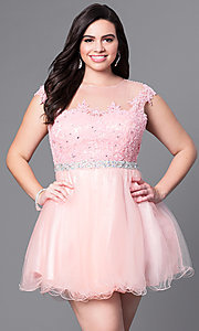 Image of plus-size short homecoming party dress with beading. Style: DQ-9489P Detail Image 1