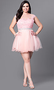 Image of plus-size short homecoming party dress with beading. Style: DQ-9489P Detail Image 2
