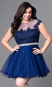 Image of plus-size short homecoming party dress with beading. Style: DQ-9489P Detail Image 3